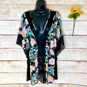Miken Swim Floral Print Cover Up Dress